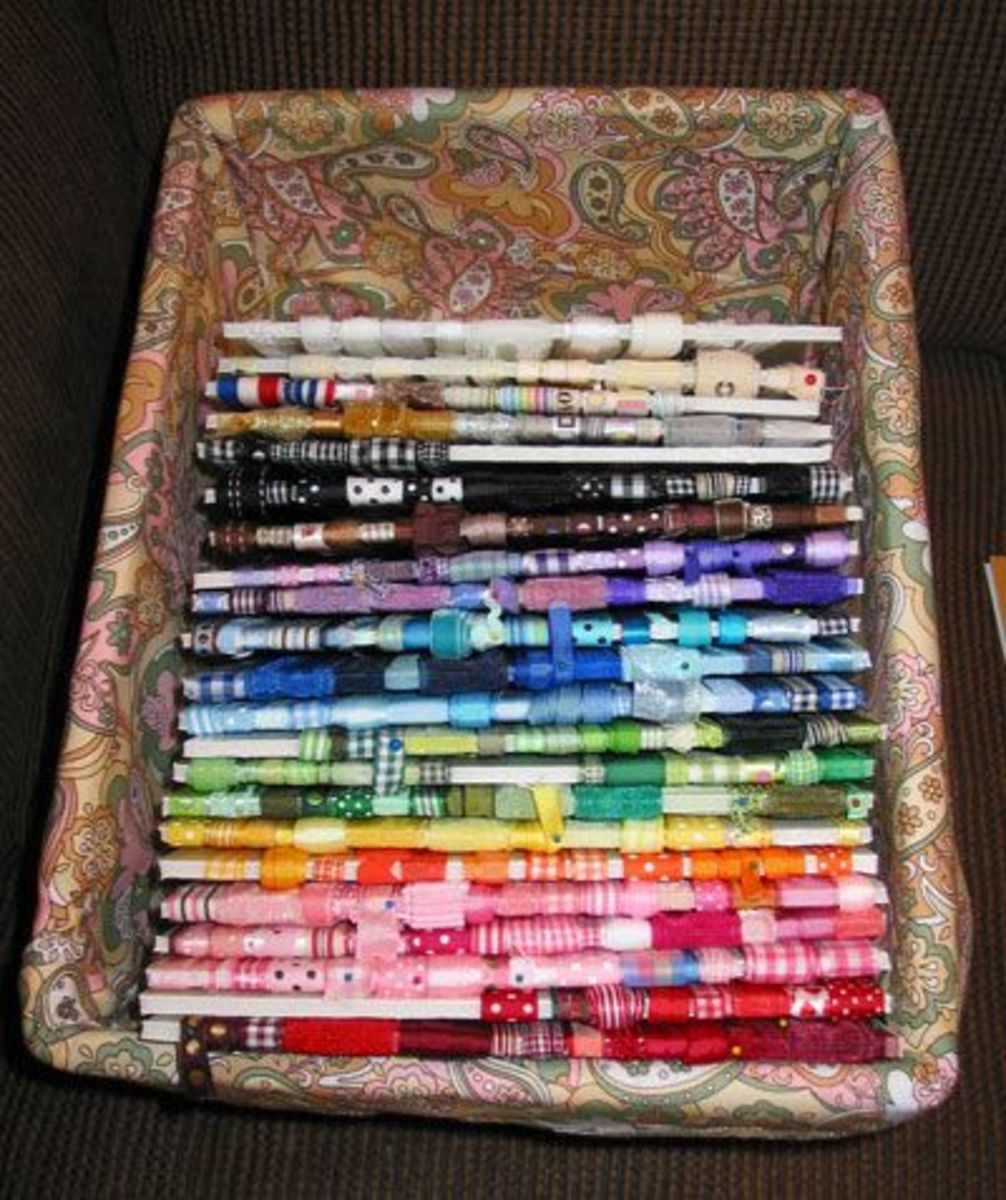 If you do not have a large amount of room in your craft space, this simple basket gets the job done.