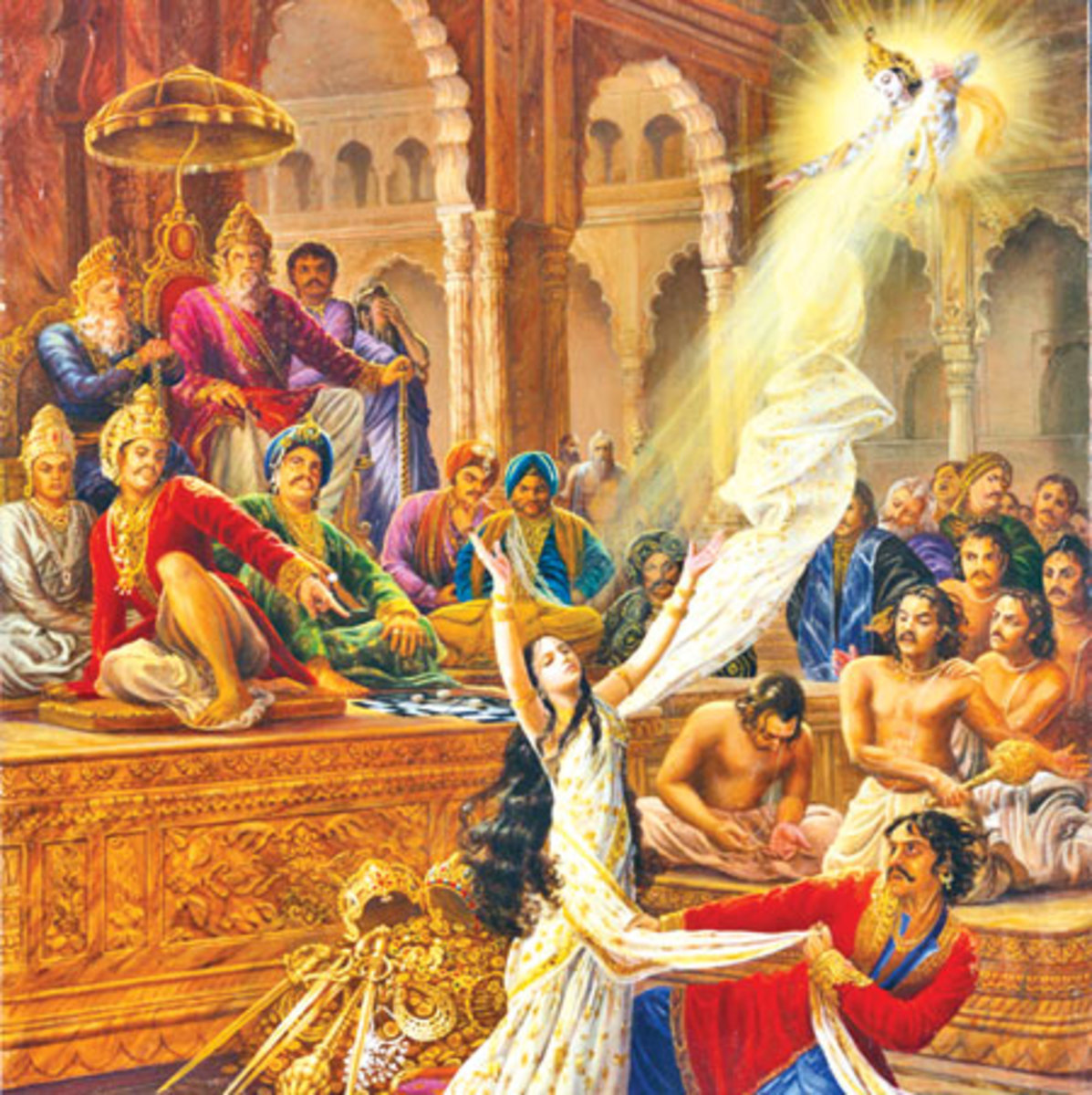Draupadi is miraculously protected by Lord Krishna and Dushasana finds that as he continues to unwrap the layers of her sari, the amount of fabric covering her never lessens.