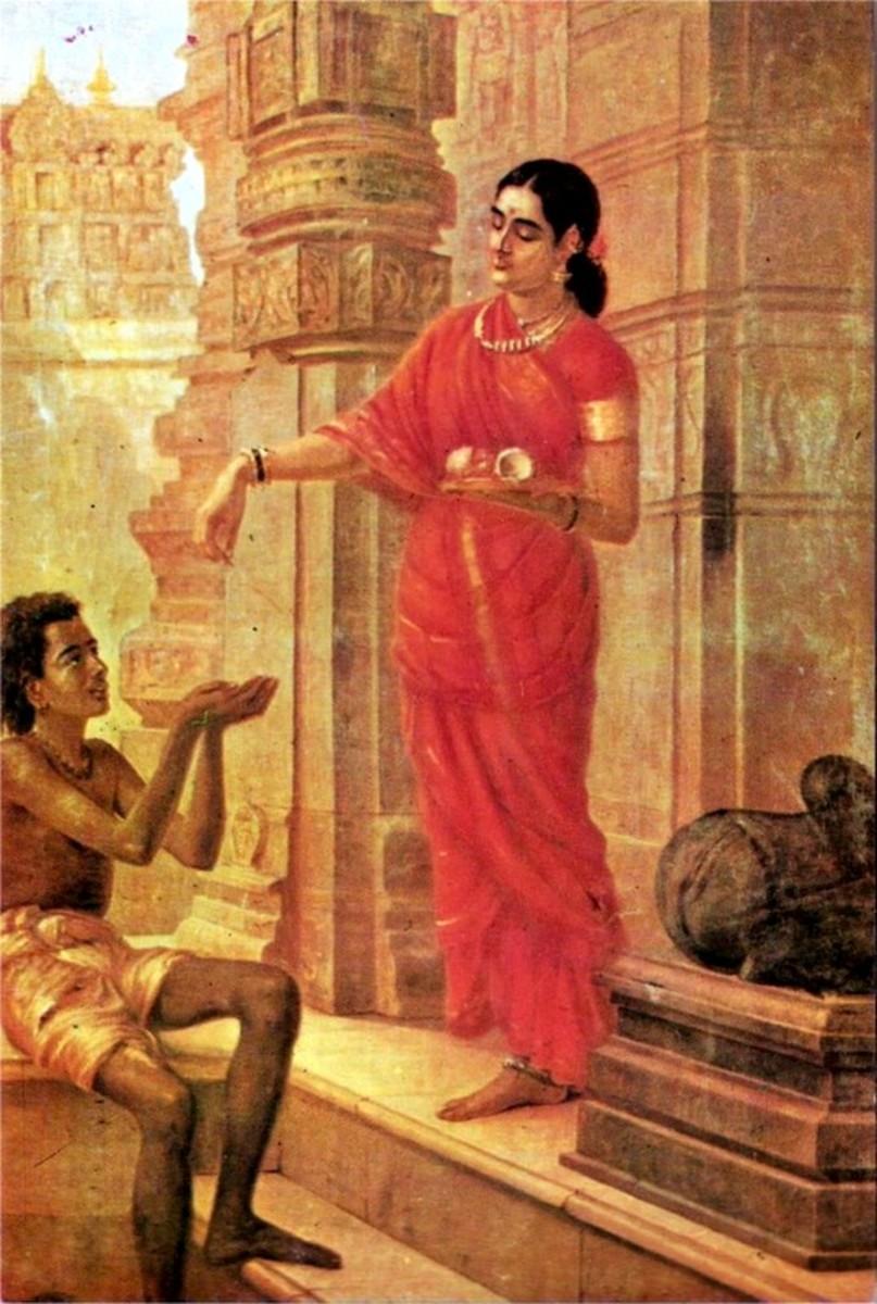 Mandodari, Ravana's wife, gives alms to a mendicant at the temple.