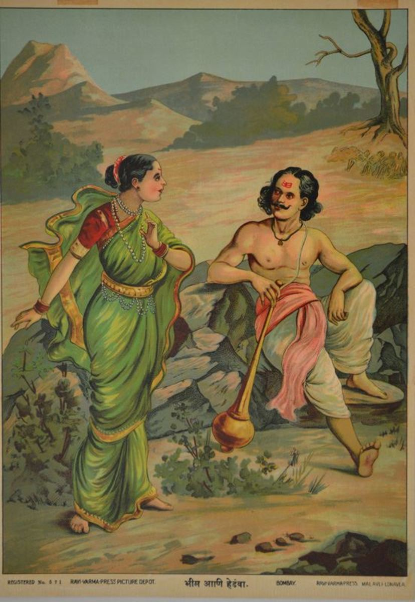 Early Lithograph by Ravi Varma Press Bhim and Hidimbi