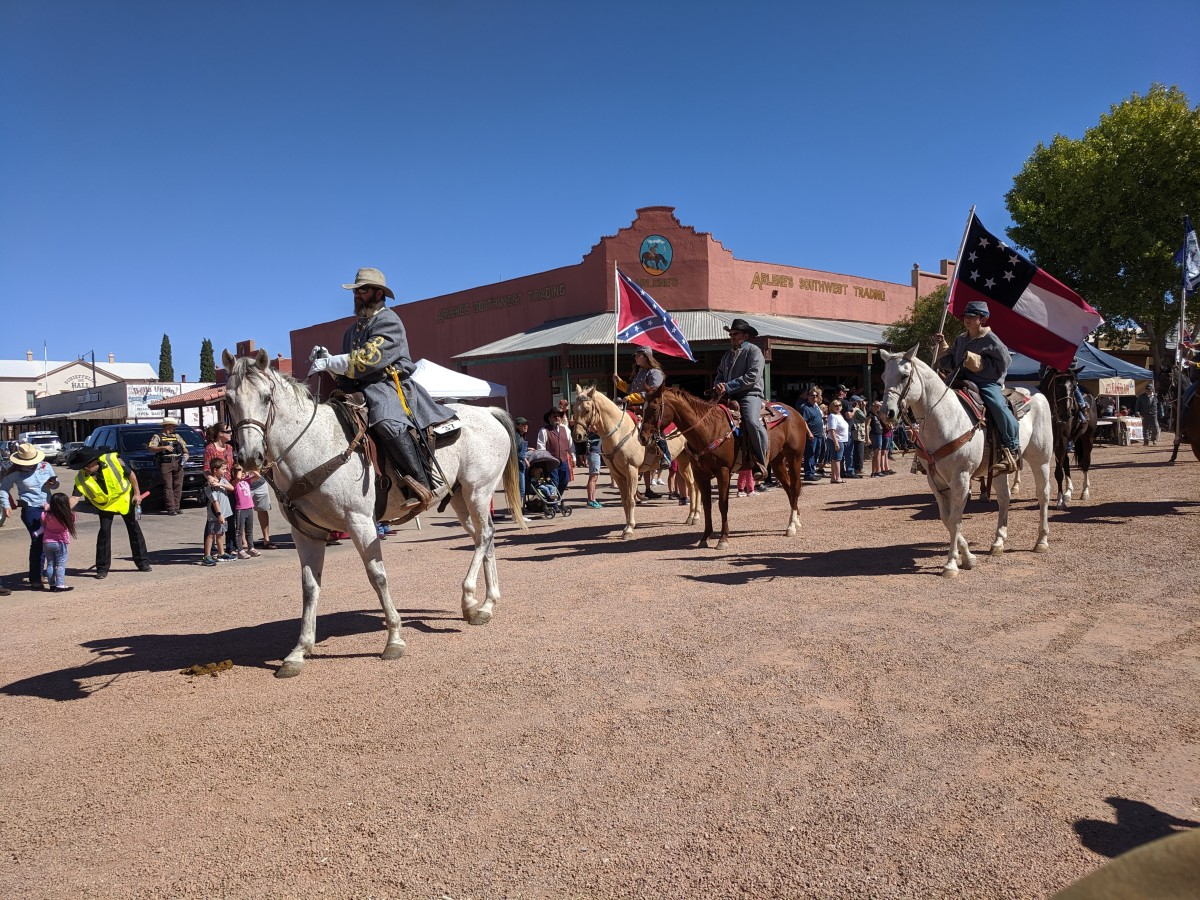 Local Chapter of Sons of Confederacy in Parade.  Many  residents were veterans of the Union or Confederate Army (2 of Wyatt Earps brothers at OK Corral were Union veterans).  There were tensions in old Tombstone between the two groups.