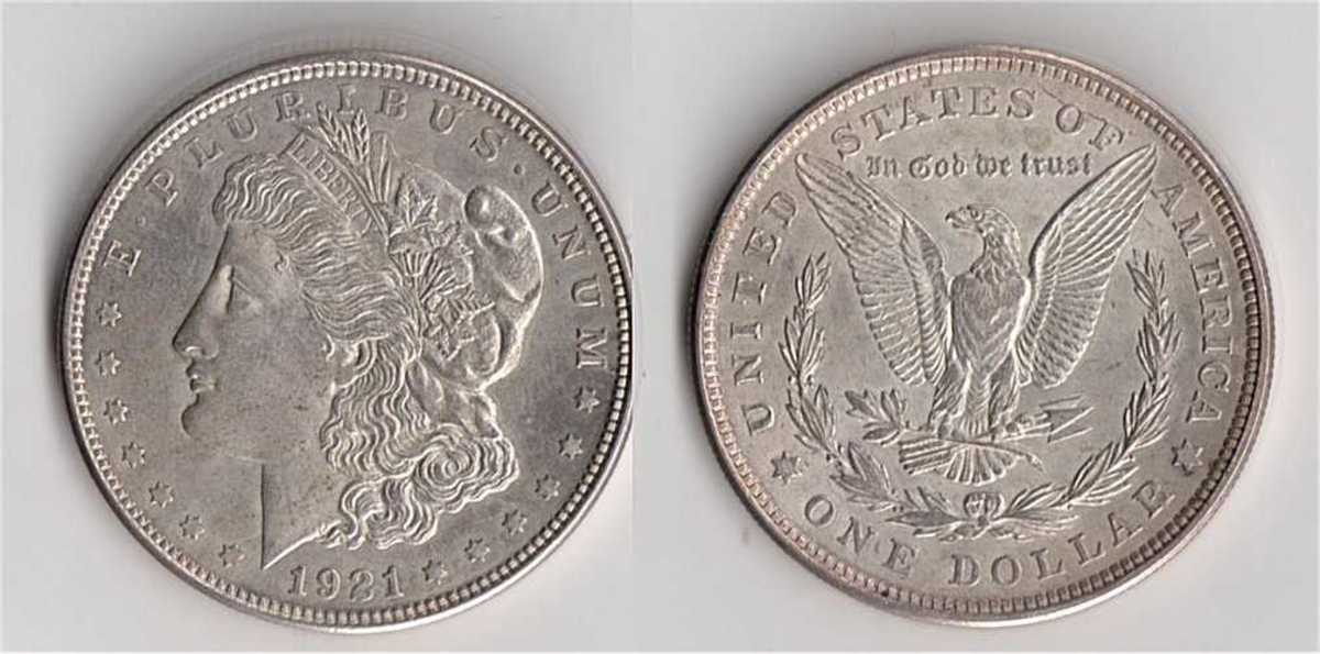 1921 Morgan Silver Dollar.