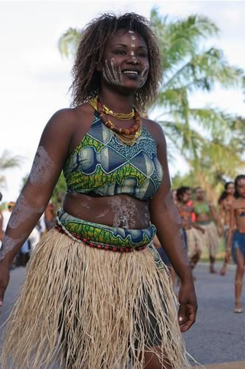 French Guiana Person In Traditional Dresses