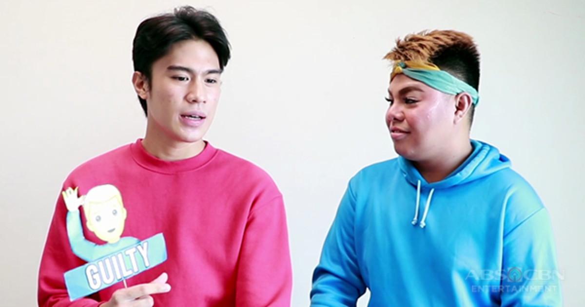 Jeremiah Lisbo (on the left) wearing fuschia colored sweatshirt.