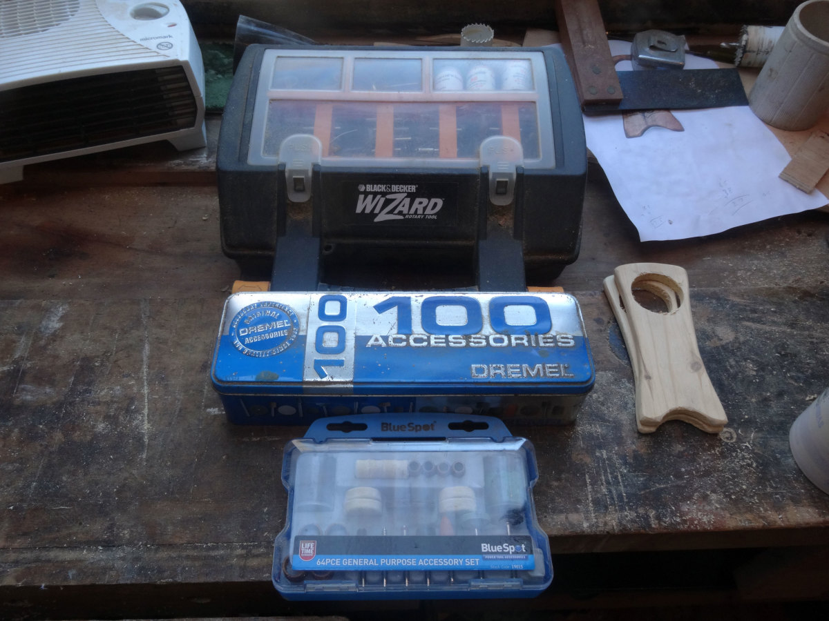 The storage boxes for the Dremel I use, and its accessories.