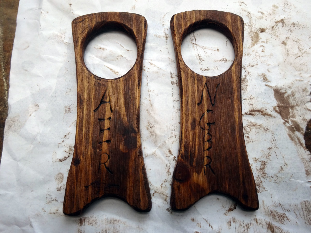 The two Viking horn stands, polished and ready for use.