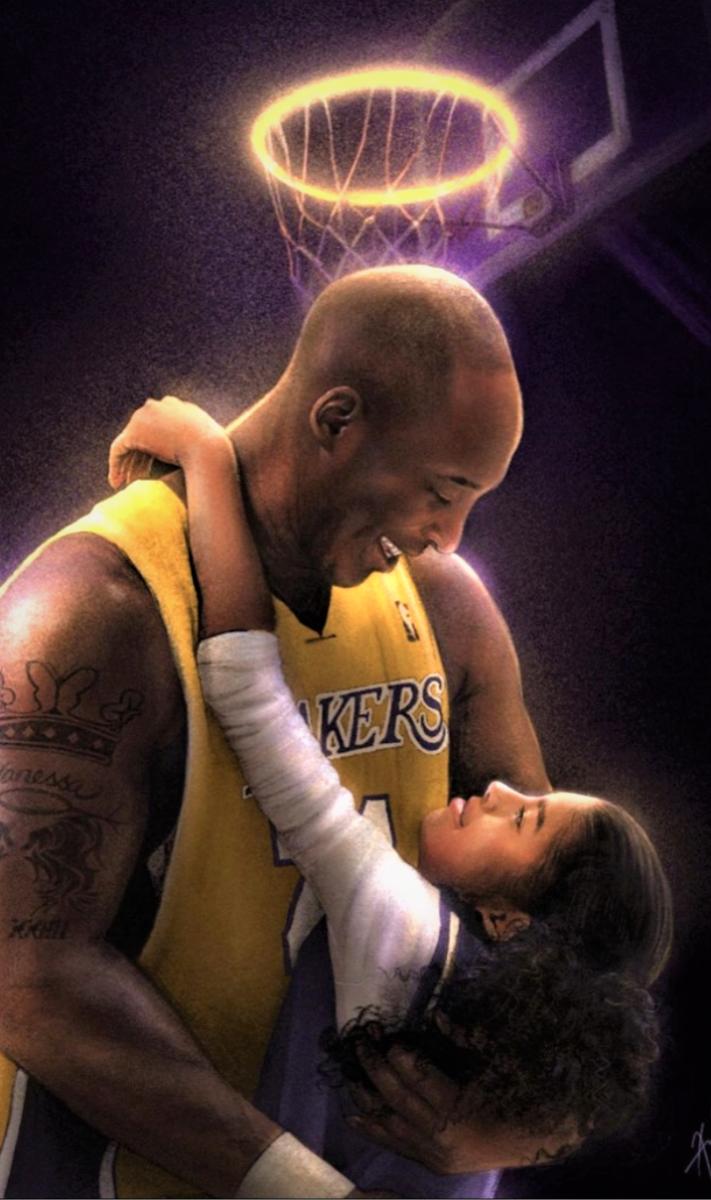 Artwork of Kobe and his Daughter Gianna