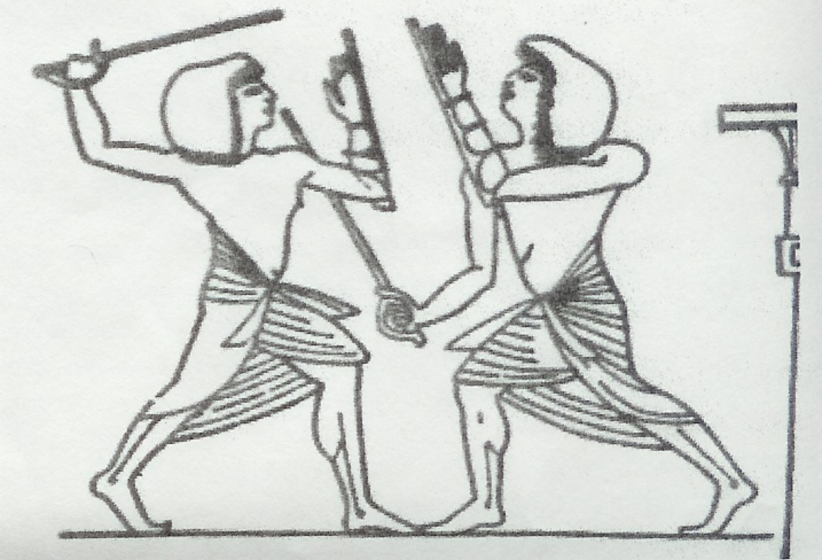 Depiction of Tahtib stick fighting.