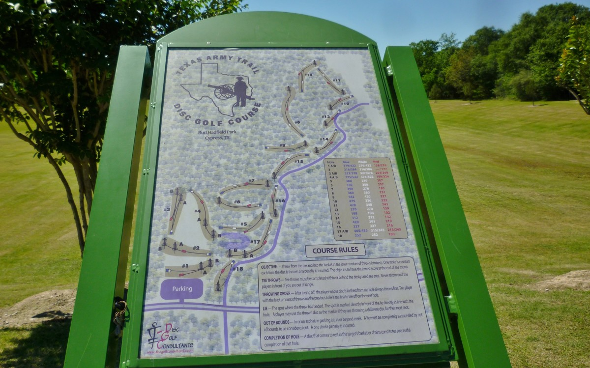 A map is posted at the parking lot of the Texas Army Trail Disc Golf Course in Bud Hadfield Park.