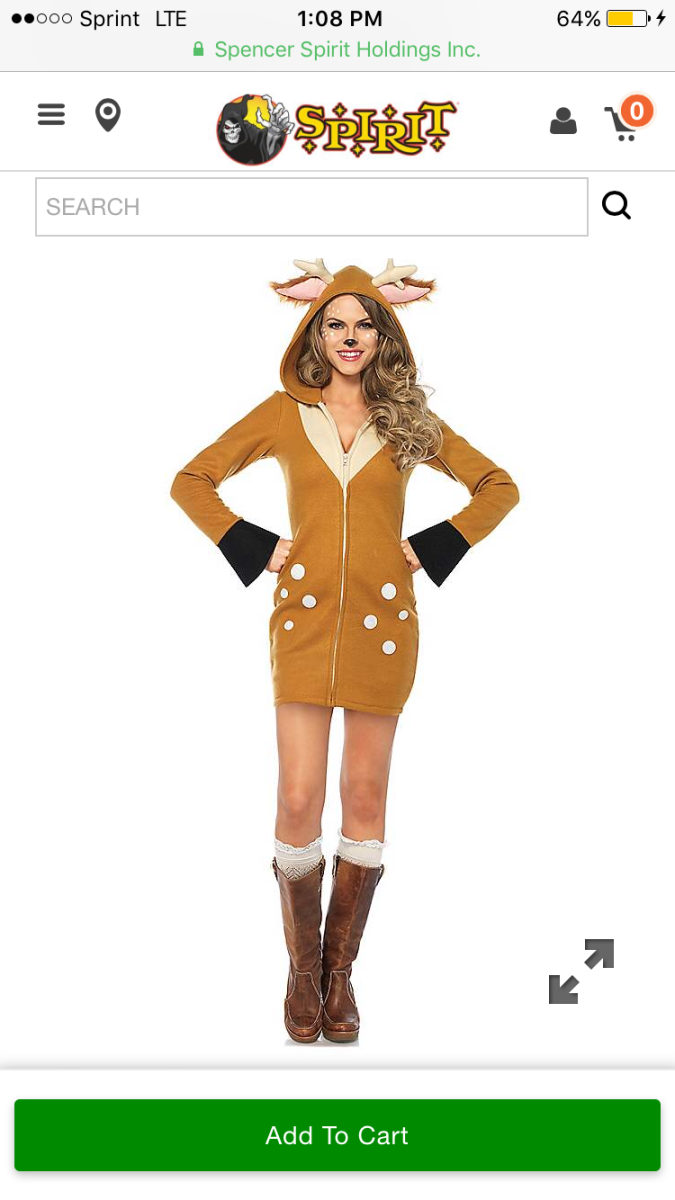 Spirit Halloween features this darling Faun costume on their website.