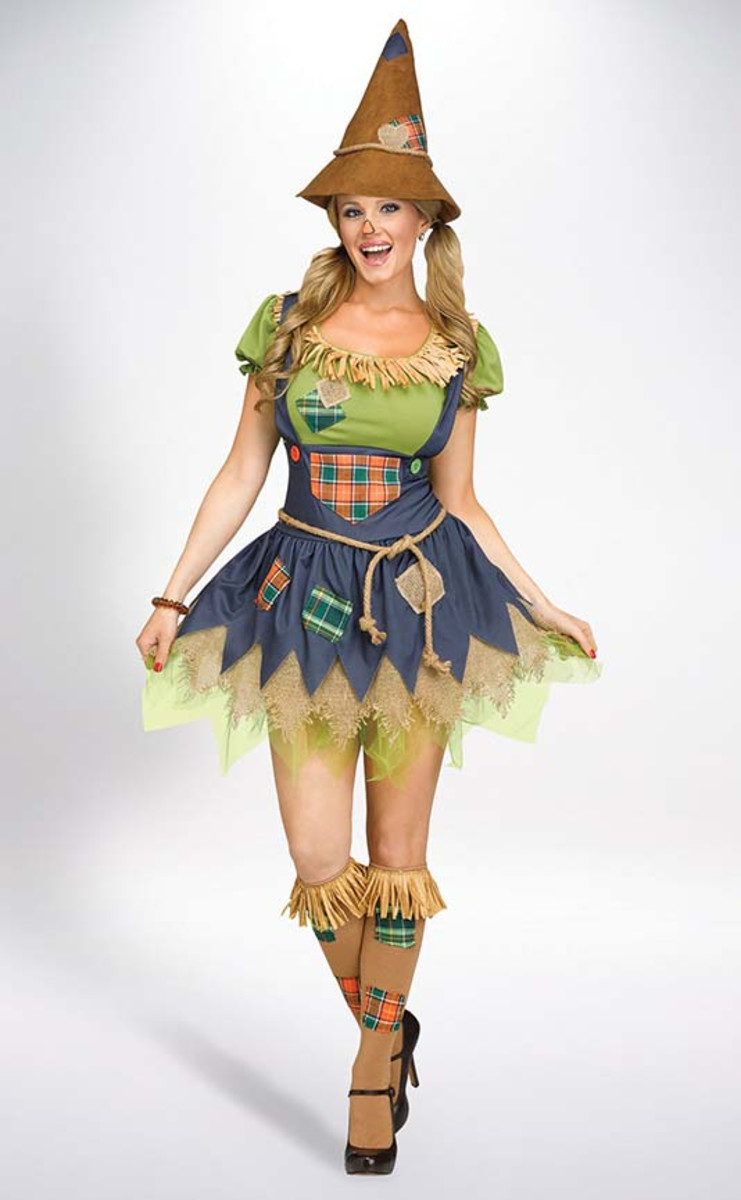 This scarecrow costume is really adorable! The skirt is a little short, but not too bad, in my opinion. You could always sew more layers into it or wear it over jeans if it's cold out or you want to be more modest.