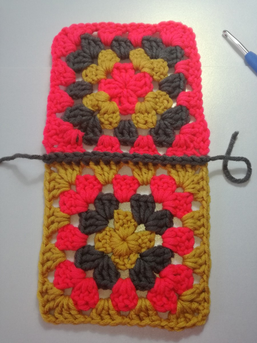 Image 4. completed row of double crochets.