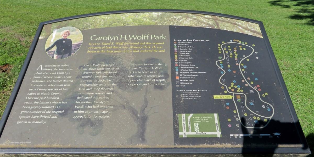 Carolyn H Wolff Park Sign