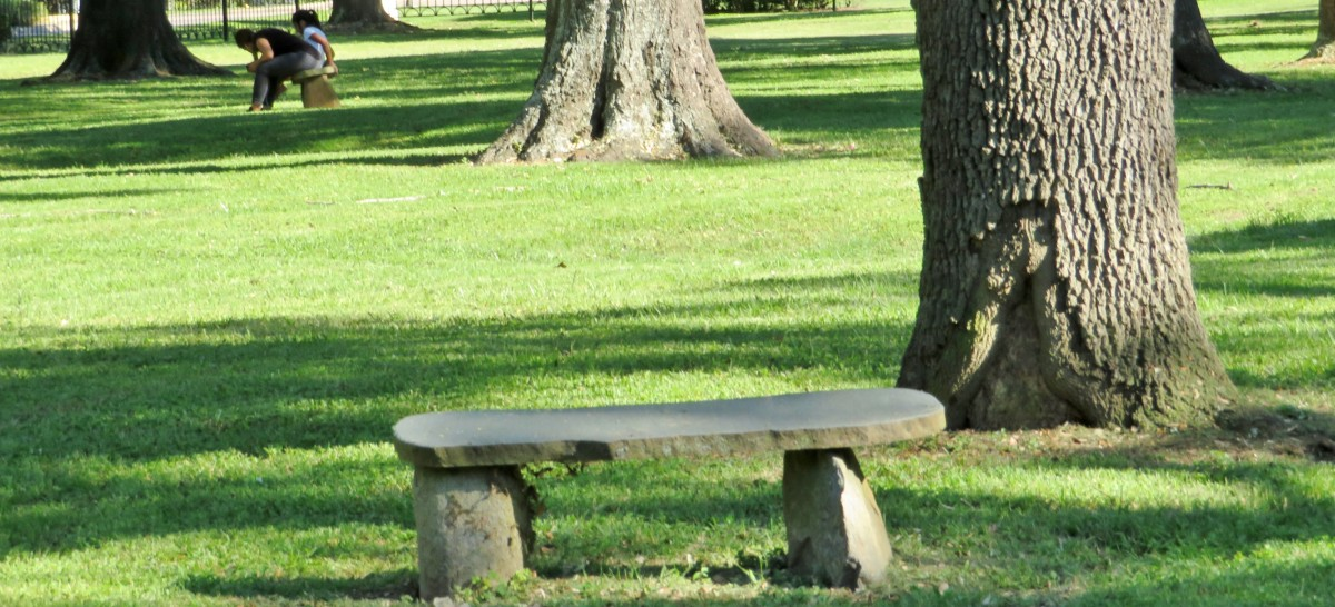 Stone benches in Carolyn H Wolff Park