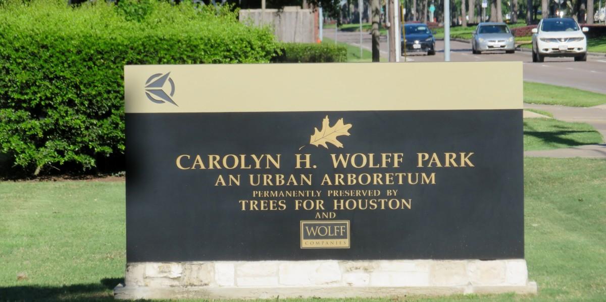 Sign designating the Carolyn H. Wolff Park