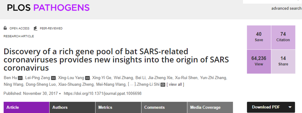 """Title page, NIH-funded Wuhan Laboratory study, """"Discovery of a rich gene pool of bat SARS-related coronaviruses provides new insights into the origin of SARS coronavirus."""""""