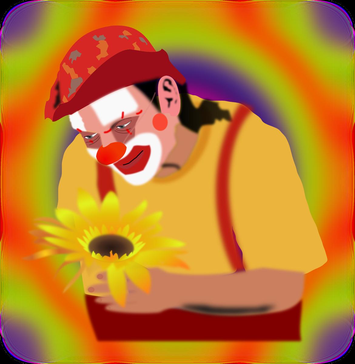 Clown with sunflower