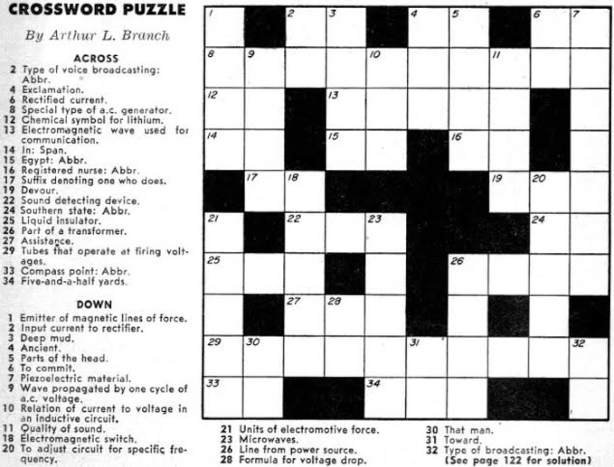 September 1957 Crossword: Popular Electronics