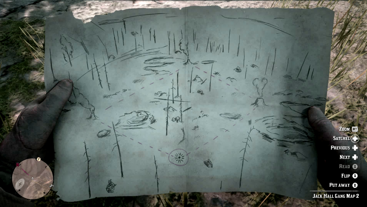 The 2nd Jack Hall Gang Treasure Map in Red Dead Redemption 2.