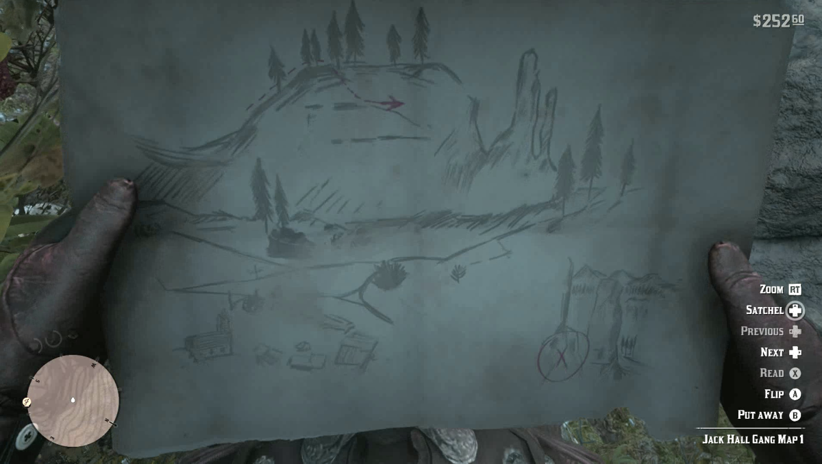 The first Jack Hall Gang Treasure Map in Red Dead Redemption