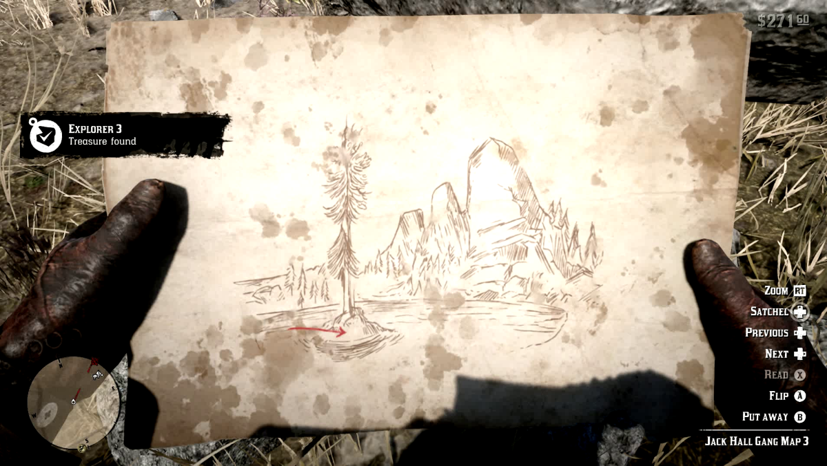 The 3rd Jack Hall Gang Treasure Map in Red Dead Redemption 2