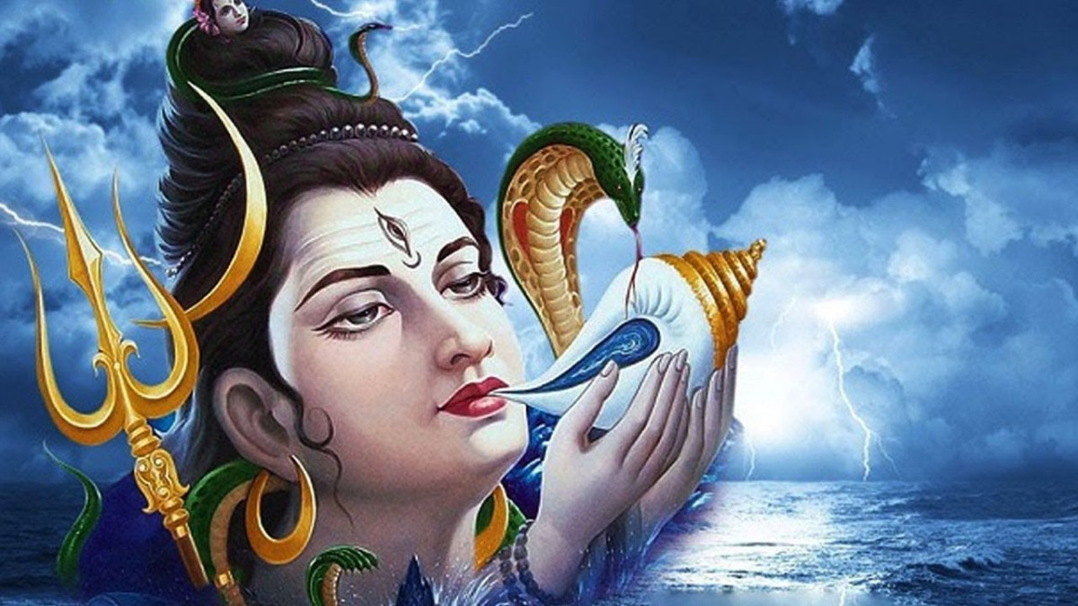Lord Shiva drinking the poison