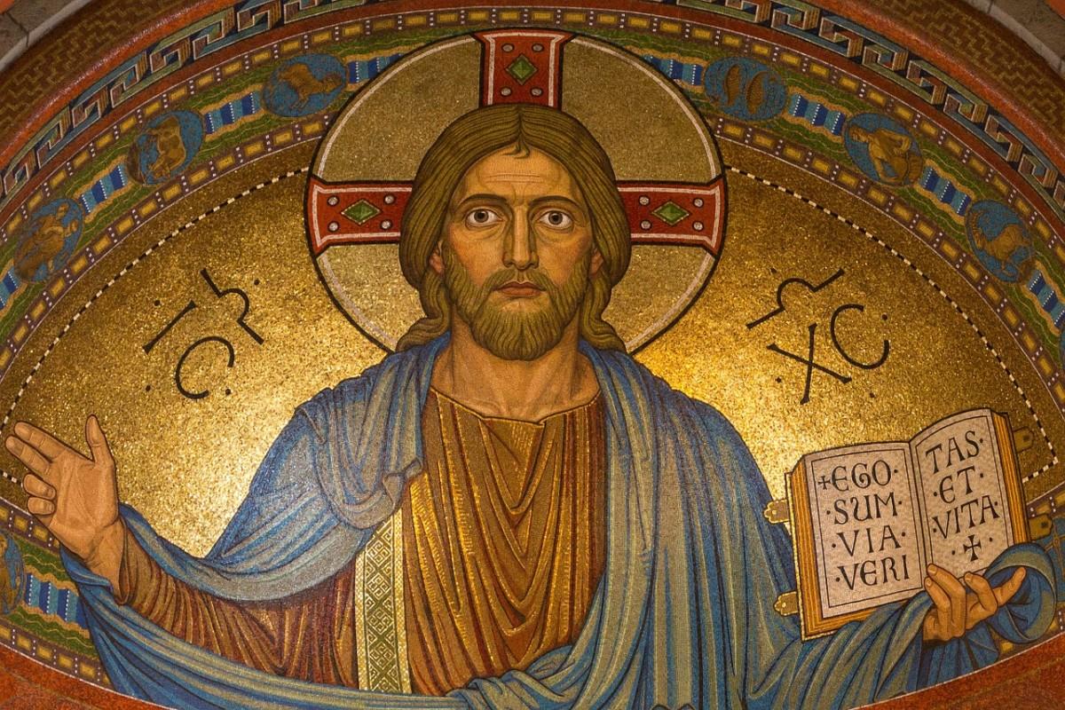 A mosaic of Jesus Christ.