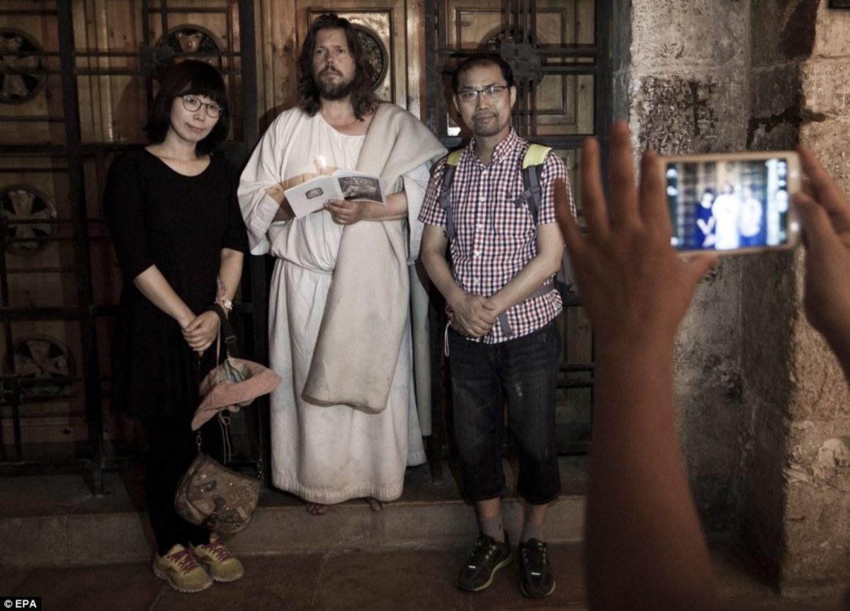 Carl Joseph aka The Jesus Guy in Jerusalem with fellow Christians
