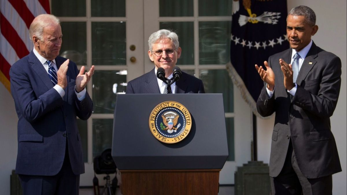 Merrick Garland speaking at the White House Rose Garden on March 16, 2016 after being nominated to the Supreme Court by President Obama