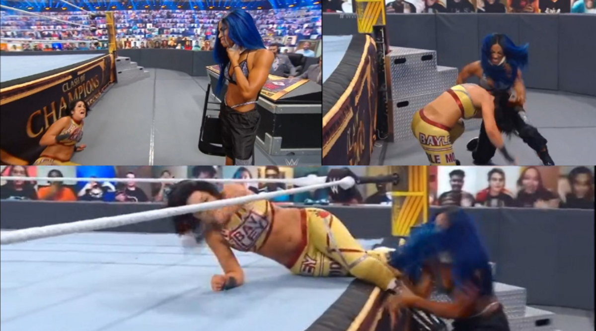 Sasha Banks coming into the arena and attacking her former best friend, Bayley.