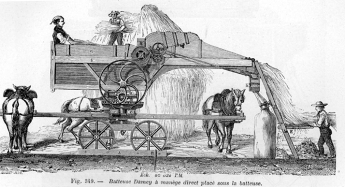Horse-powered threshing machine - By Unknown author Public Domain,
