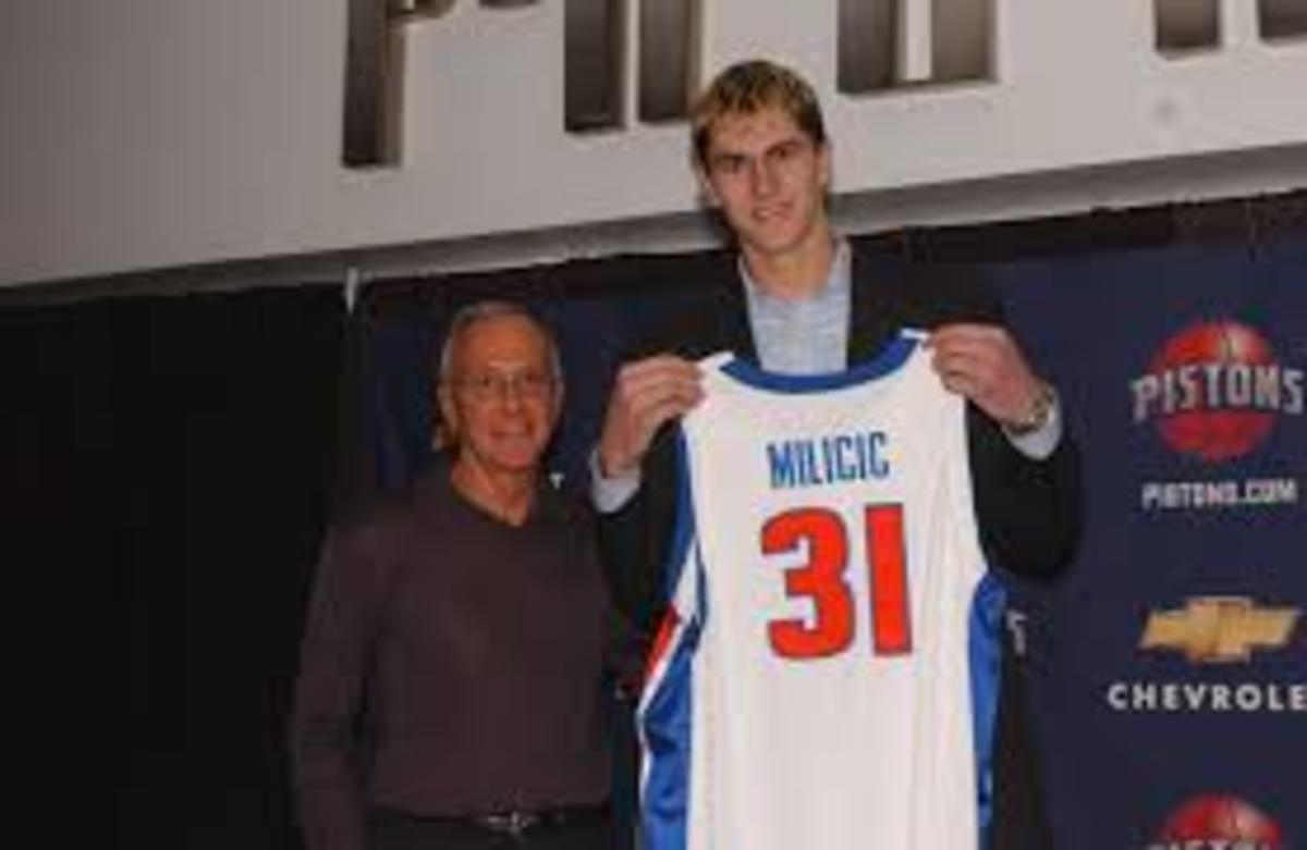 The Detroit Pistons drafted center Darko Milcic second overall in 2003. He was drafted ahead of future hall of famers Carmelo Anthony, Chris Bosh, and Dwyane Wade. He would end up being one of the most infamous bust in NBA draft history.