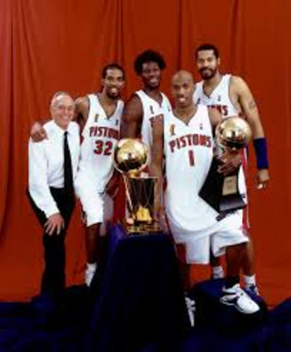 The underdog Pistons defeated the Lakers during the 2004 NBA Finals led by Chauncey Billups, Rip Hamilton, Ben and Rasheed Walace.