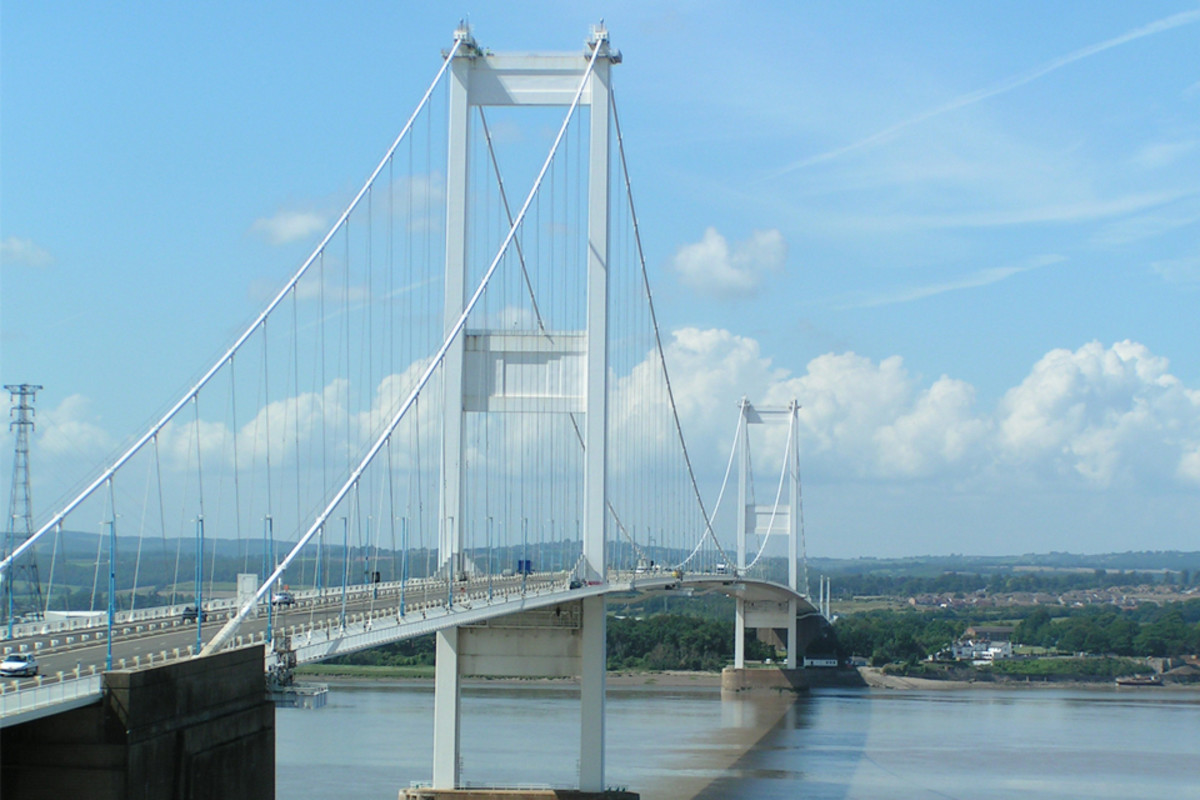 Severn Bridge connecting England to Wales.