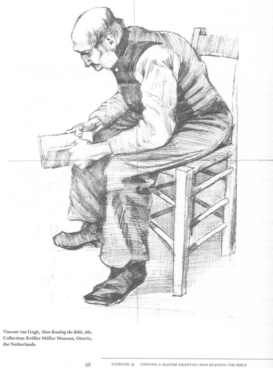 Van Gogh picture depicting a man reading a Bible