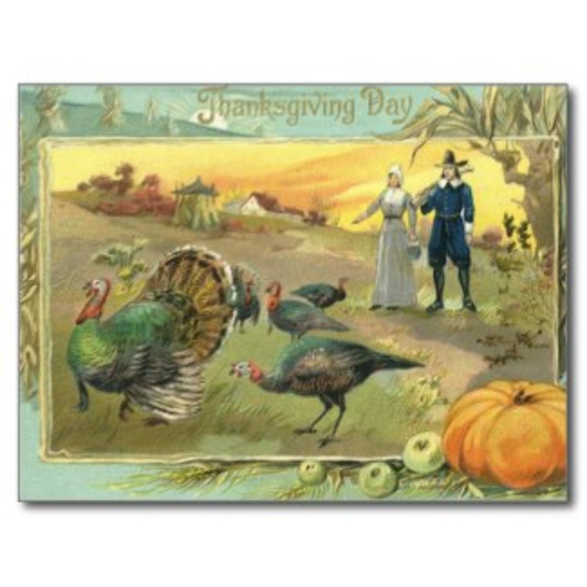 Vintage Thanksgiving with Turkeys and Pilgrims Post Cards