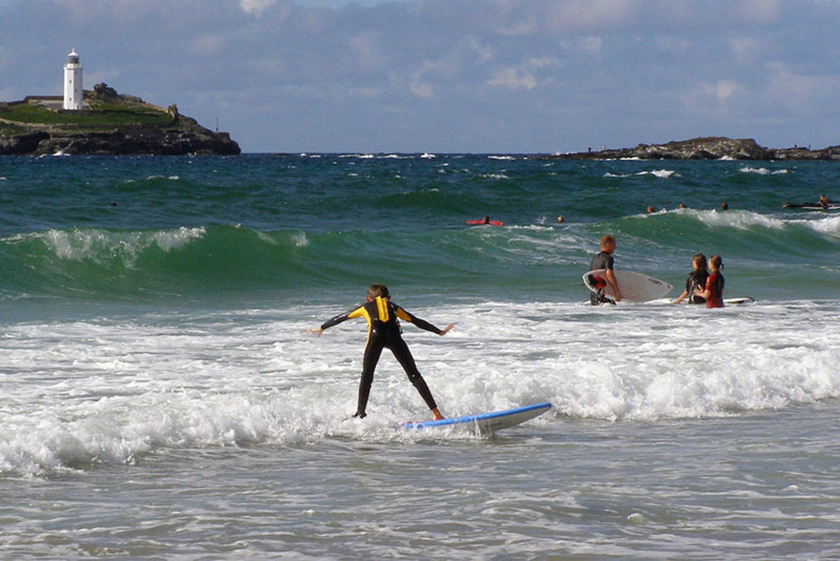 Young surfers in Cornwall