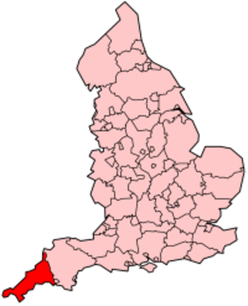 Outline map of England (Wales and Scotland omitted) showing Cornwall marked in darker red