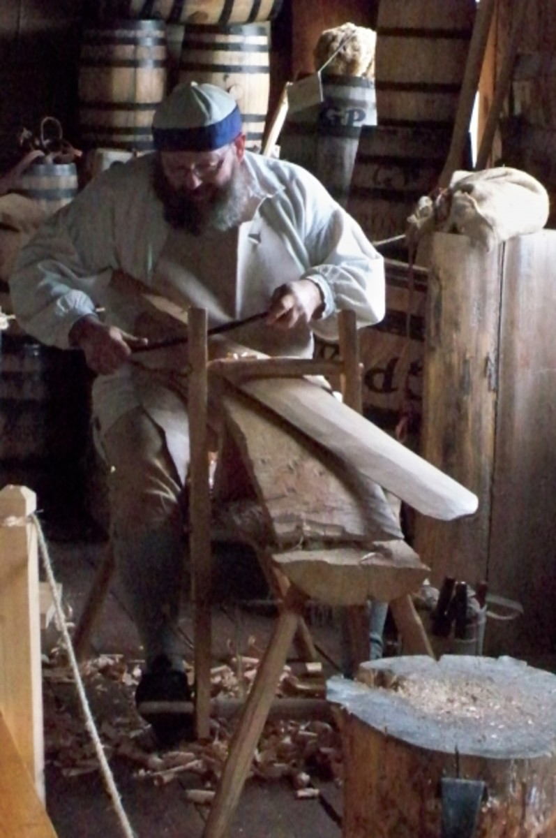 A paddle-maker in the old canoe warehouse