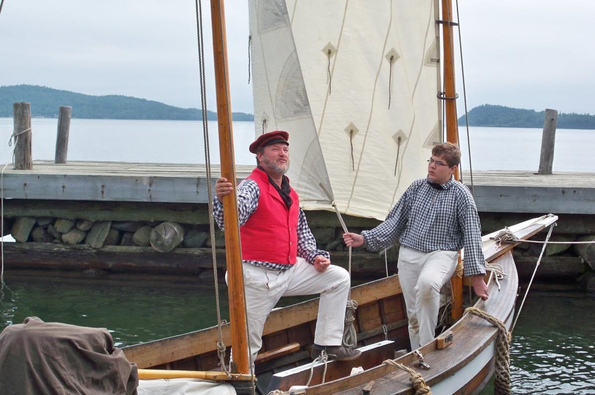 Sailors at the dock at Grand Portage on Lake Superior