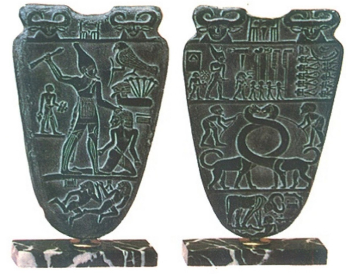 The Narmer Palette shown in its front and back part and King Narmer is shown bashing the heads of his victims, but at the same time, by him shown on the back part wearing the Crown of Upper Egypt(North) and his attendants line up with him; and the fr