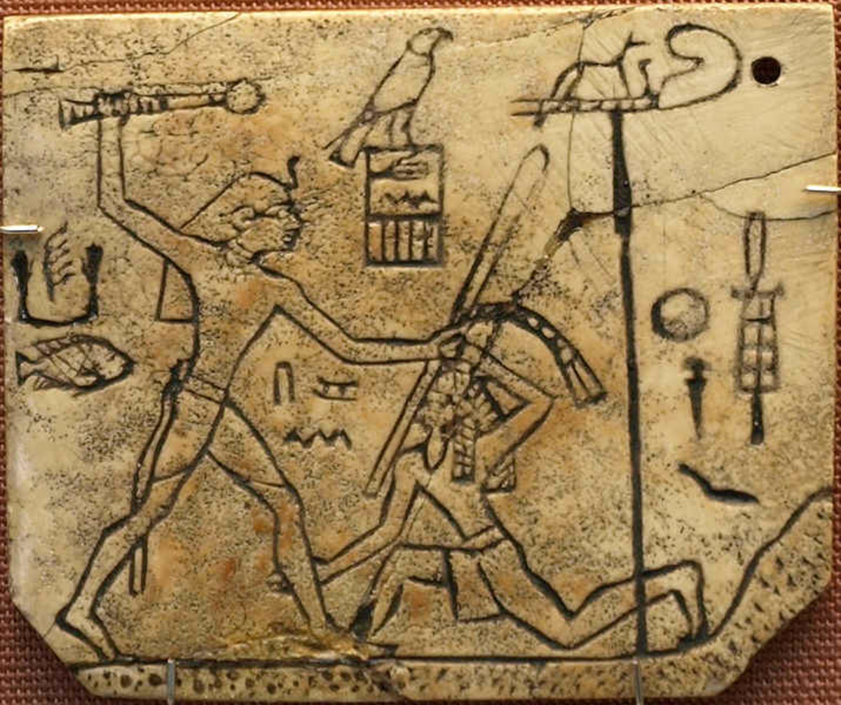 Ivory Sandal label of Kin Den (4th King, 1st Dynasty); showing him smiting an enemy