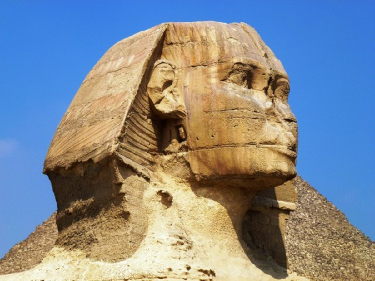 A much more close-up Face of the sphinx as seen and described by Count de Volney.. The Face of an African person... The Great Sphinx of Giza. His beard has fallen off and his nose was shot off during target practice by the French!