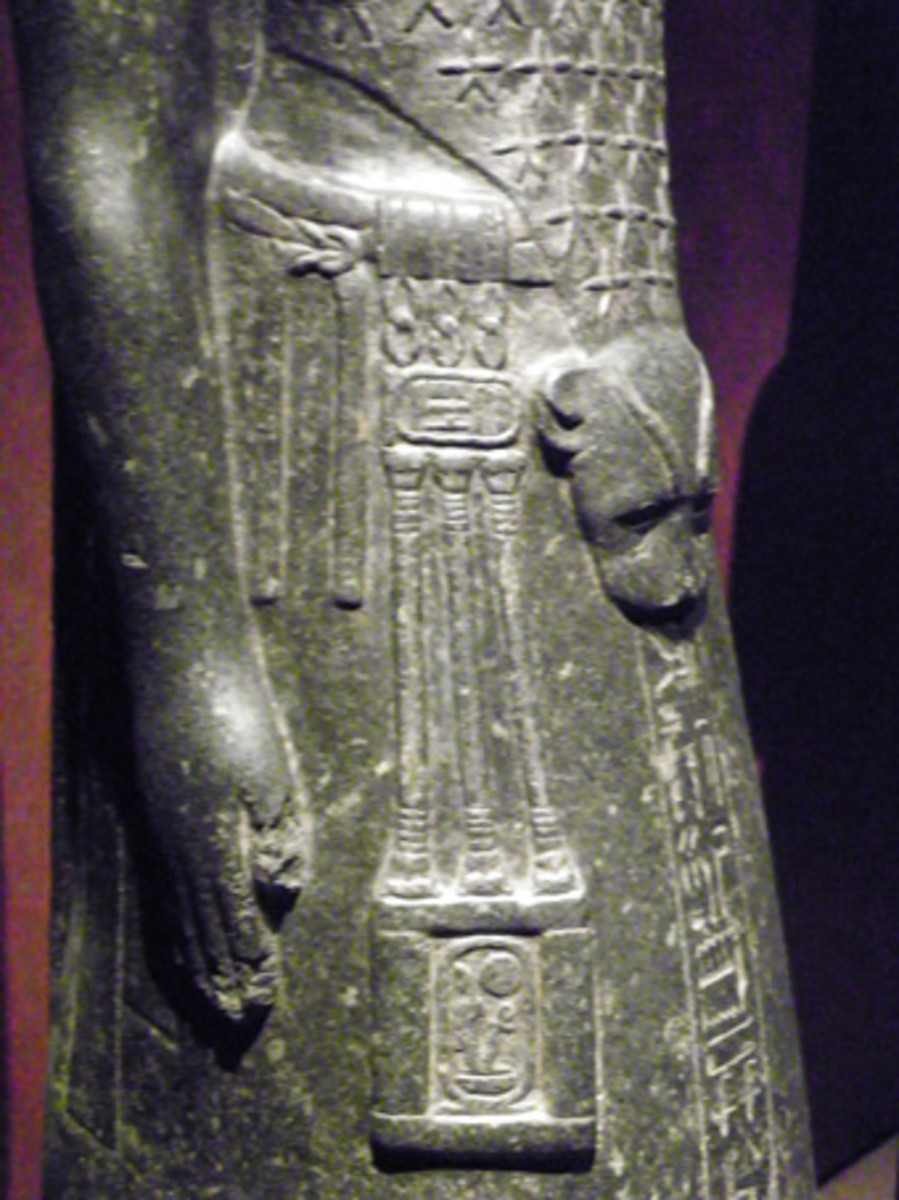 The priest Anen with a leopard skin imitation and a decorative sash. He served under Pharaoh Amenhotep III., 14th cent. B.C. (Statue was found in Karnak, today: Turin, Egyptian Museum)