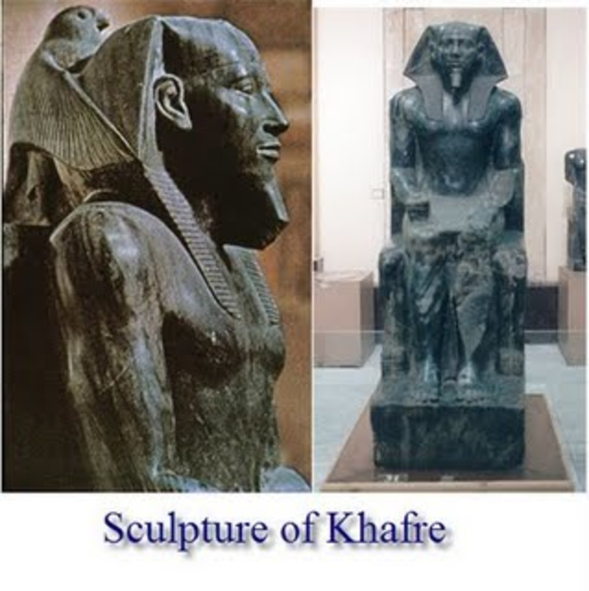 Pharaoh Khafre in black diorite with white veins, his head embraced by the hawk god Horus. It has a concentrated force and presence unequalled over 5,000 years. #16 photo