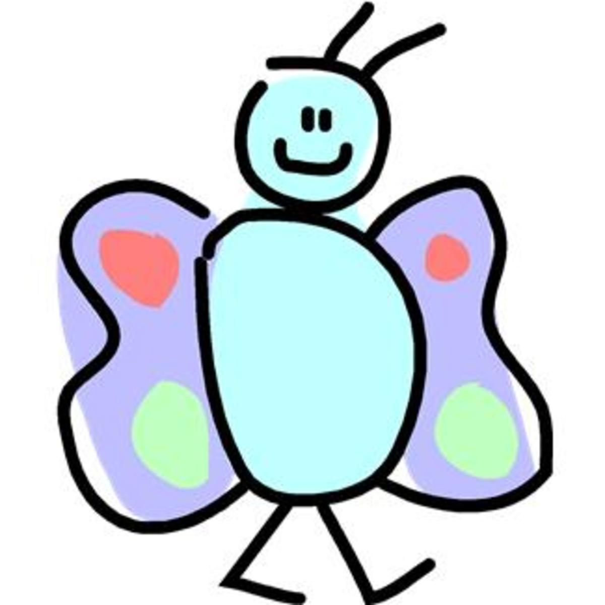 Smiling Cartoon Butterfly Walking Around