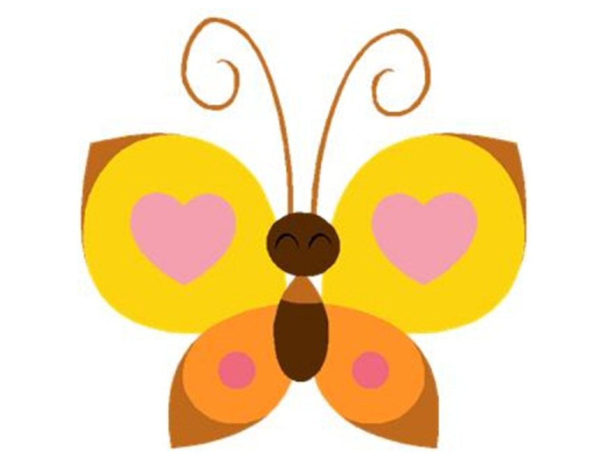 Orange and Yellow Butterfly with Hearts