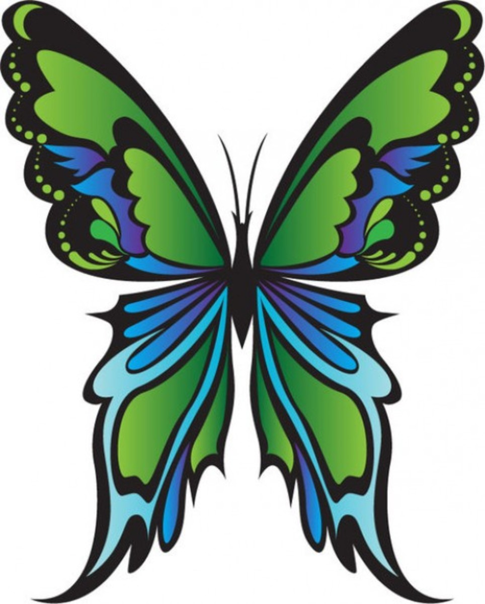 Artistic Green Butterfly