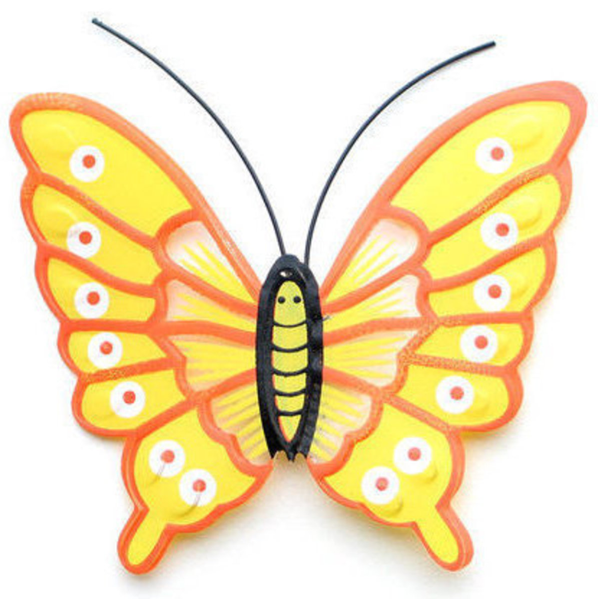Yellow Butterfly with Orange Outlines