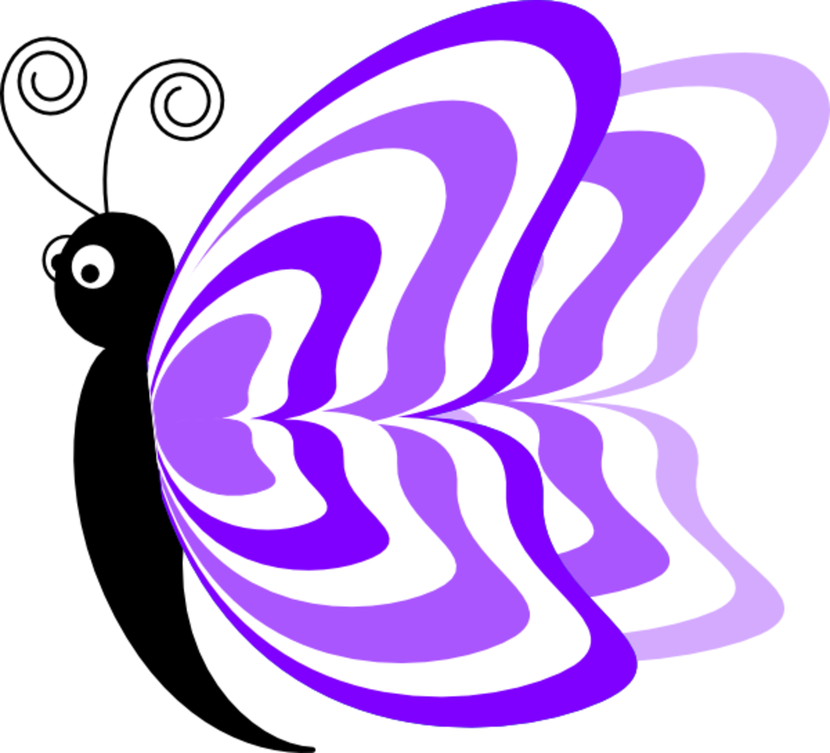 Purple Striped Cartoon Butterfly